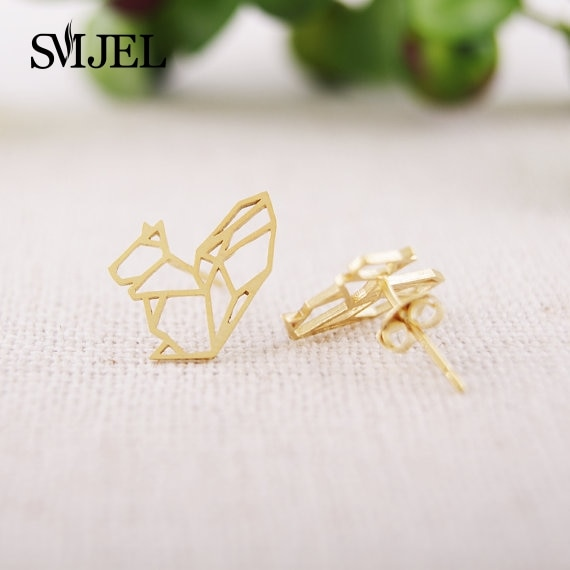 SMJEL Cute Accessories Fashion Jewelry New Punk Origami Squirrel Stud Earrings for Women Pendients B