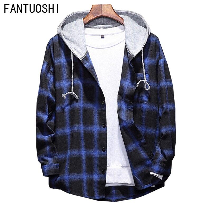 Camisa de hombre de algodón ajustada fit 2018 otoño nueva de alta calidad de manga larga Casual con capucha camisa de moda masculina Camisa de cuadros de gran tamaño 5XL