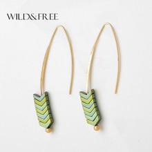 Boho Style 8 Colors Green Stone Drop Earrings For Women Vintage Gold Hook Triangle Pendant Earrings Fashion Jewelry Wholesale