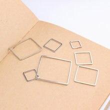50 unids/lote, accesorios de joyería cuadrados de Color plata y cobre, conectores de moda, Pendientes colgantes geométricos para joyería hecha a mano