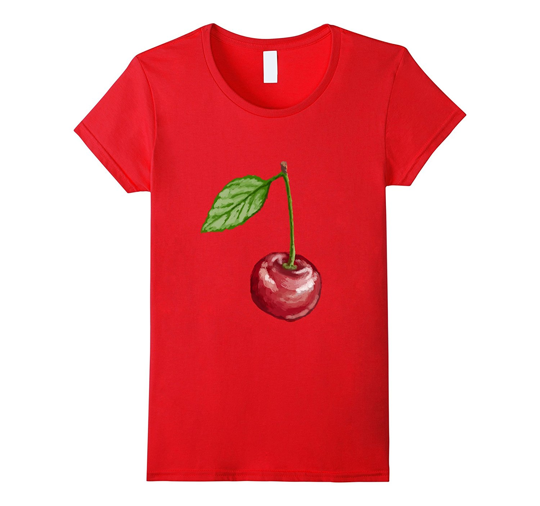Camiseta con estampado de cerezas, frutas, bayas, vegetales y plantas