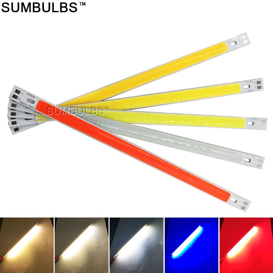 10 Teile/los 200x10MM Super Helle LED COB Streifen Licht 10W DC 12V Grün Rot Blau gelb Weiß 200mm Epistar LEDs Chip COB Lampe DIY