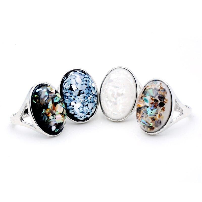 SHUANGR, recién llegado, joyería de moda, elegante, anillo de piedra grande de concha Natural blanca para mujeres/hombres, anillo de fiesta Vintage