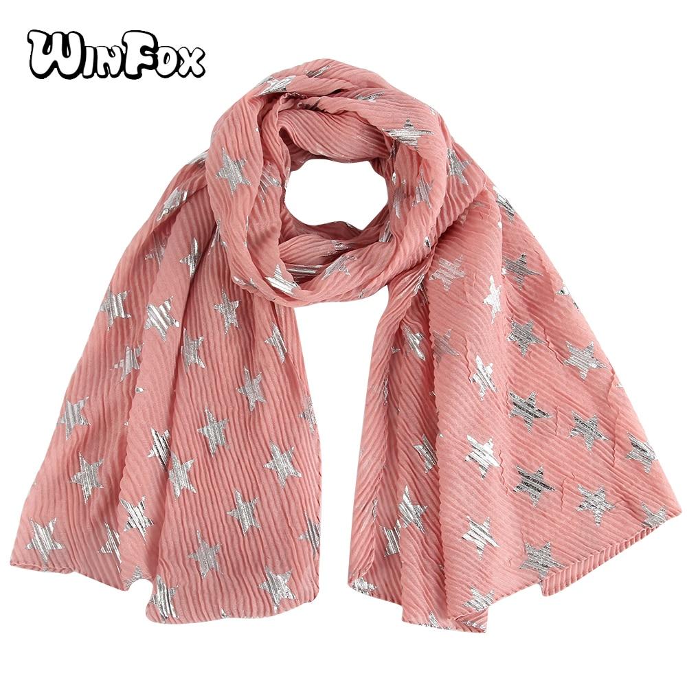 Winfox Senhoras Nova Moda Metálico Foil Sliver Estrela Rosa Wrinkle Cachecol Hijab Das Mulheres