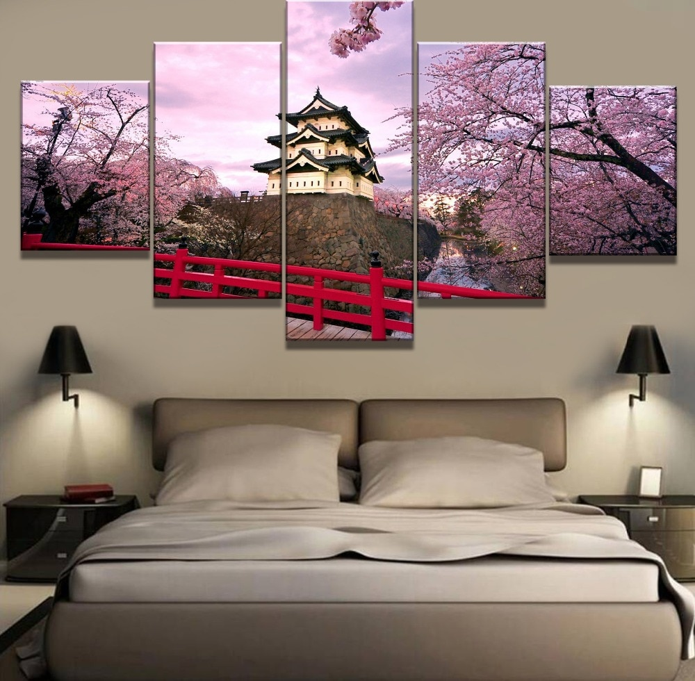 Cuadro de 5 piezas con estampado en HD de flores de cerezo japonés, Cuadros de paisajes, lienzo, arte de pared, decoración del hogar para sala de estar, regalo único