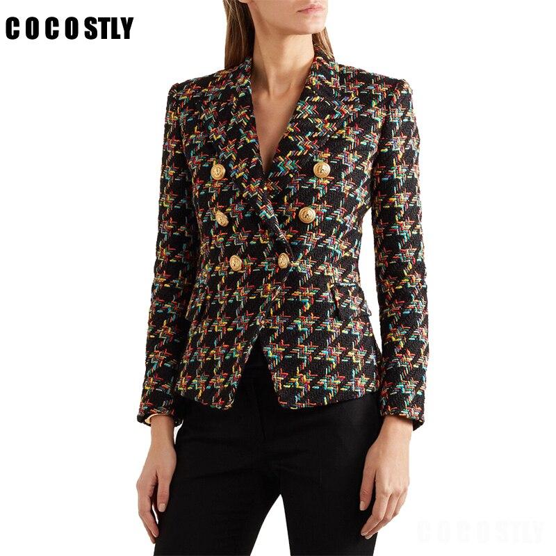 High Quality Design Blazer Women Long Sleeve Woolen Coats Double Gold Buttons Blazers Outer Jacket Coat Female Blazer Feminino