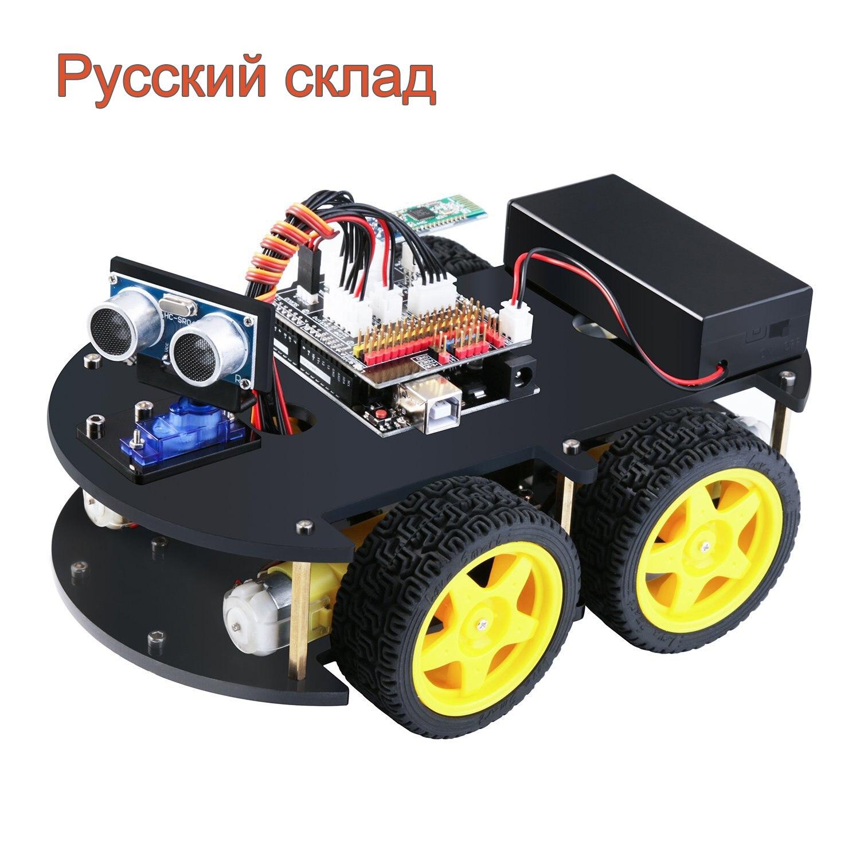 مشروع سيارة روبوت ذكية، EL-KIT-012 UNO، لوحة تحكم UNO R3, وحدة تتبع الخط، استشعار بالموجات فوق الصوتية، بلوتوث لبرنامج arduino