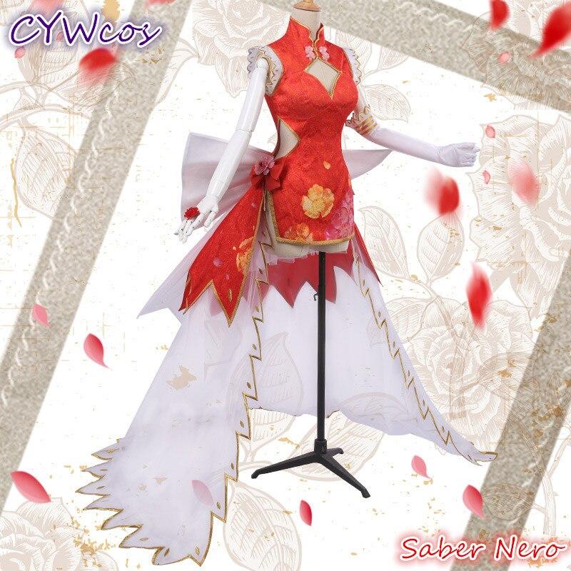 Pre-verkauf Anime Fate/EXTRA FGO Rot Saber Nero Cosplay Kostüm Chinesischen Cheongsam Frau Kleid Weihnachten Outfits Kostüme