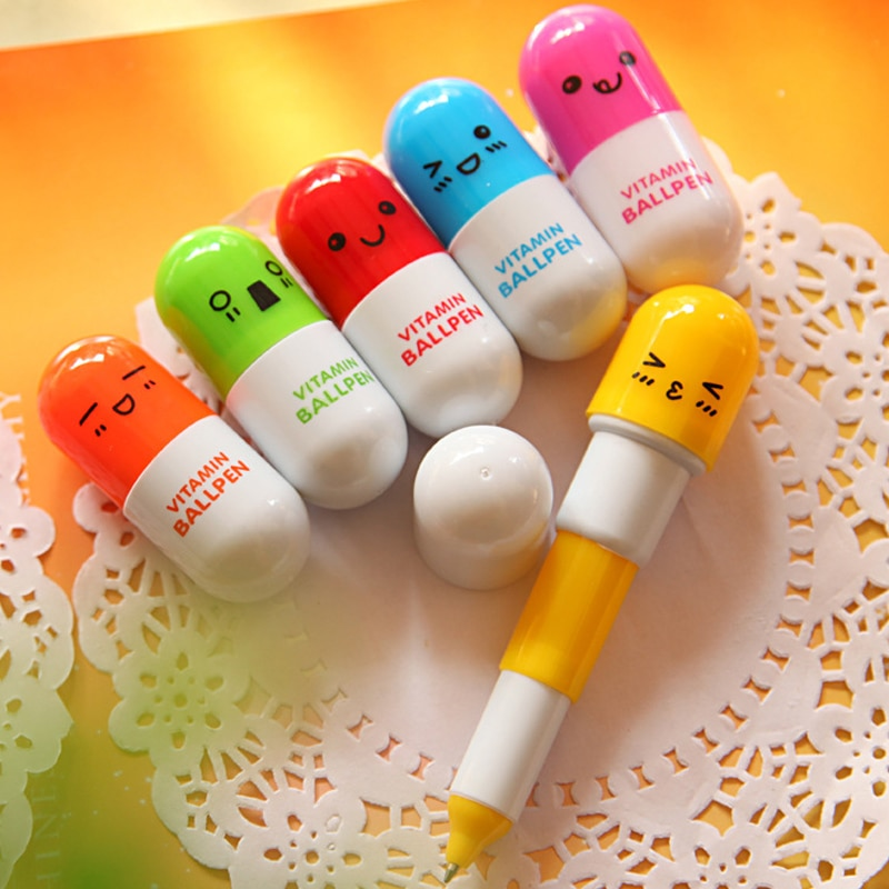 1 / 5 pc bonito sorridente rosto pílula esferográfica caneta telescópica vitamina cápsula esferográfica material escolar de escritório crianças presente