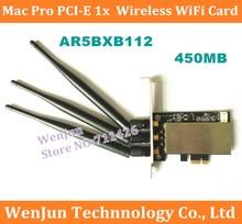 Free Shipping 450MB Extreme Atheros AR5BXB112 Wireless WIFI Card PCI-E X1 For Mac Pro AR9380