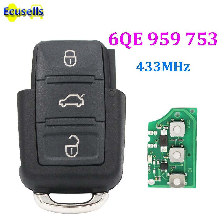 Transmisor de llavero remoto sin llave de 3 botones 6QE 959 753 433MHz para Volkswagen VW SHARAN FOX GOL SAVEIRO 6QE959753