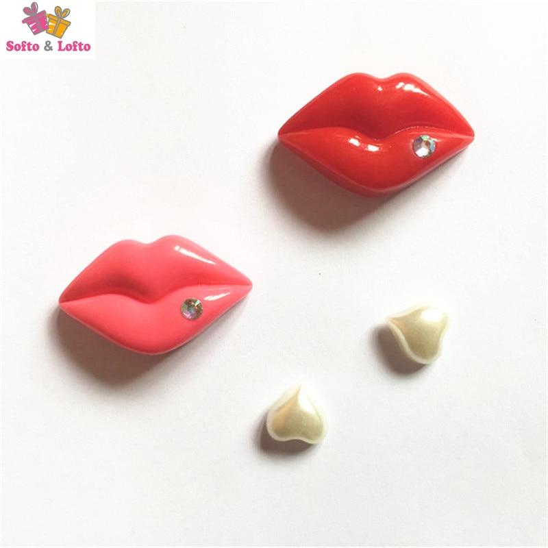 O envio gratuito de 4 pçs/lote Sexy Lábios pequenos Corações Cozinha Figuras brinquedos ímã do carro frigorífico decoração de escritório em casa presentes de natal para crianças