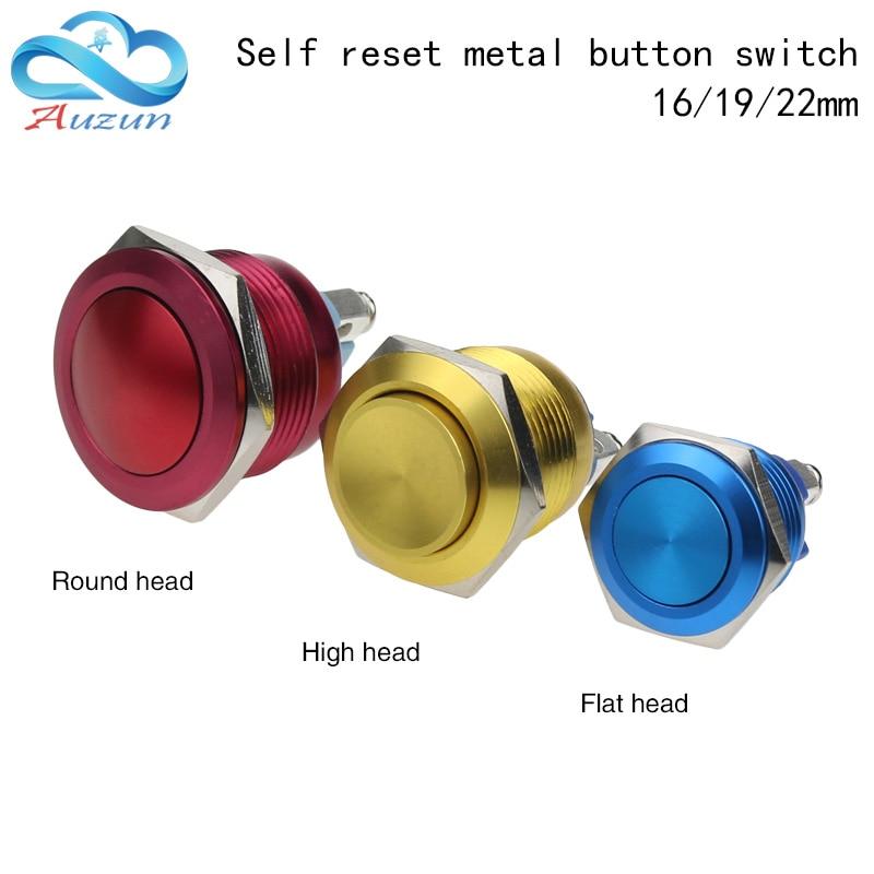 16/19/22mm cabeza alta plana cabeza redonda metal interruptor de Reinicio tornillo pin alúmina rojo verde amarillo azul negro