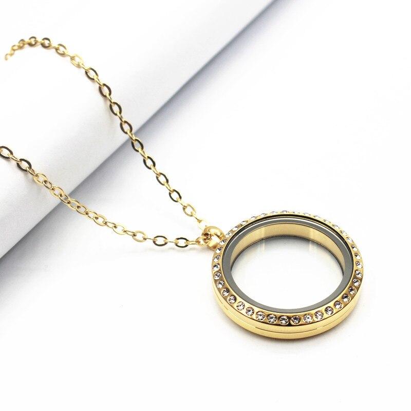 Libre de la cadena de 30mm ronda de oro de acero inoxidable cristal flotante collar de medallones giro vida medallón colgante de vidrio collar de la joyería