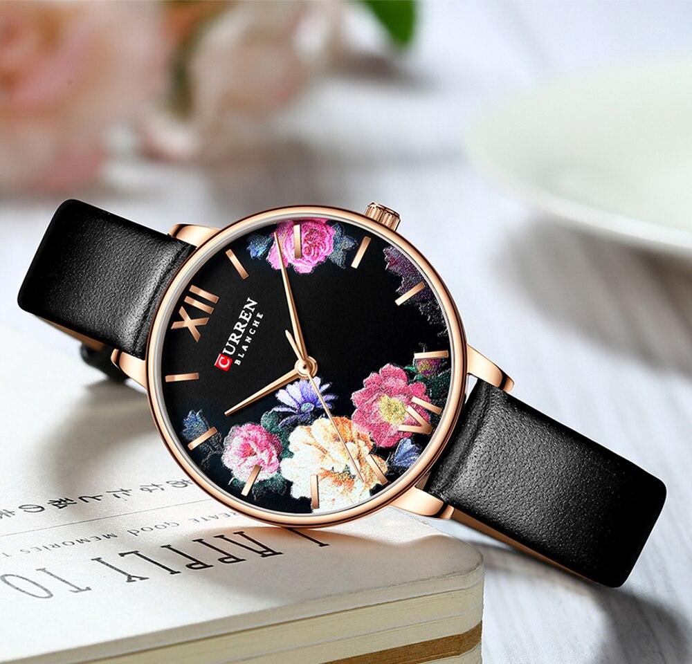 CURREN Black Women Watches Rose Gold Craft Flower Leather Quartz Wristwatch Fashion Dress Watch Ladies Gifts Clock Montre Femme enlarge