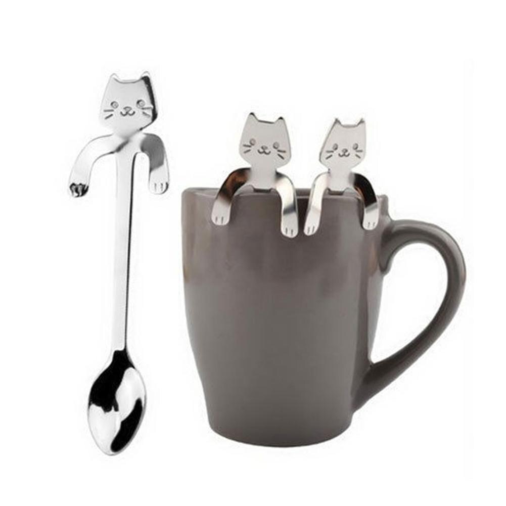 Cuchara con forma de gato mango de historieta de acero inoxidable cuchara de café colgante 6 uds cafetería familiar Linda cuchara