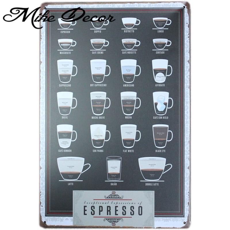 [Mike86] café Espresso signo de Metal PUB Home bar decoración pegatina retro póster de pared arte 20*30 CM mezcla de elementos AA-439