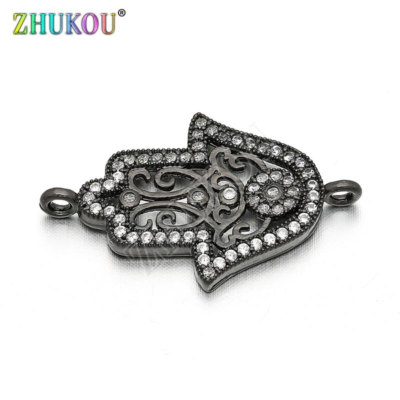 17*26mm Messing Zirkonia Glück Hamsa Hand Charms Anhänger DIY Schmuck Armband Halskette, Die, Modell VS34