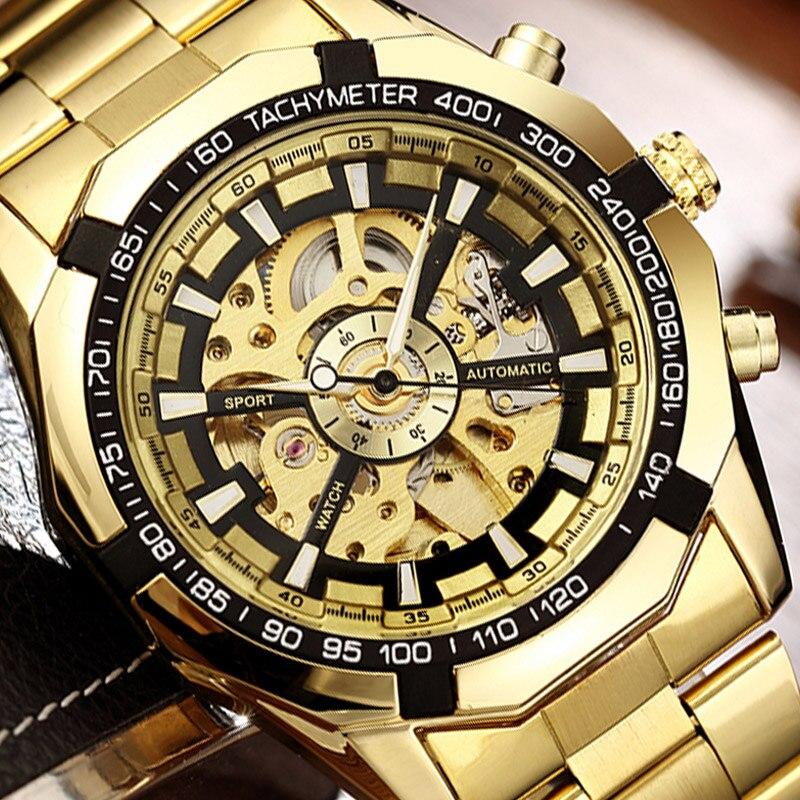 Автоматические механические часы с скелетом, золотые мужские часы, браслет из нержавеющей стали, спортивные Роскошные мужские часы, китайс...