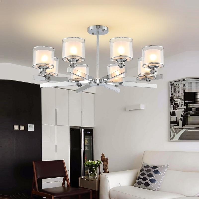 Современная люстра из хромированного металла, светодиодные люстры, хрустальные подвесные светильники для гостиной, освещение для спальни