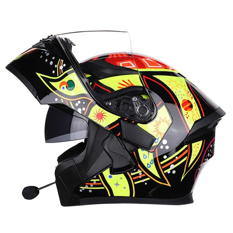 NEW Motorcycle bluetooth helmets Double Visor Flip Up Helmet Racing 4 Seasons Headgear Casco dot bluetooth helmets