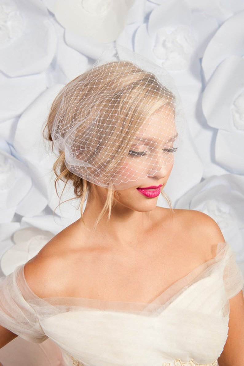 White Ivory color simple wedding birdcage Veil Two Lyers cheap wedding veil bride birdcage party hair accessories veu