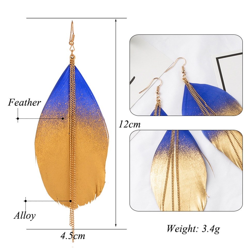 Multiple Colors Vintage Boho India Ethnic Golden Feather Dangle Drop Earrings for Women Female 2018 Wedding Jewelry Accessories