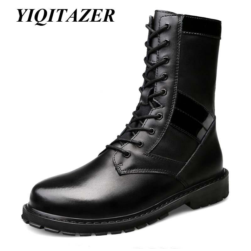 YIQITAZER-أحذية شتوية من الجلد للرجال ، أحذية عسكرية ، صوف داخلي ، جلد أصلي ، أسود Plus 48 49 50 ، 2018