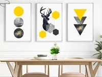 unframed geometric starry abstract deer 3 pieces wall art print picture canvas painting poster for living room