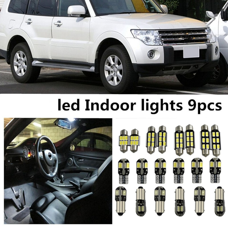 Tcart 9 x ОШИБОК белый интерьер светодиодный свет посылка комплект для Mitsubishi pajero 2007-2014 Аксессуары для чтения подсветка двери