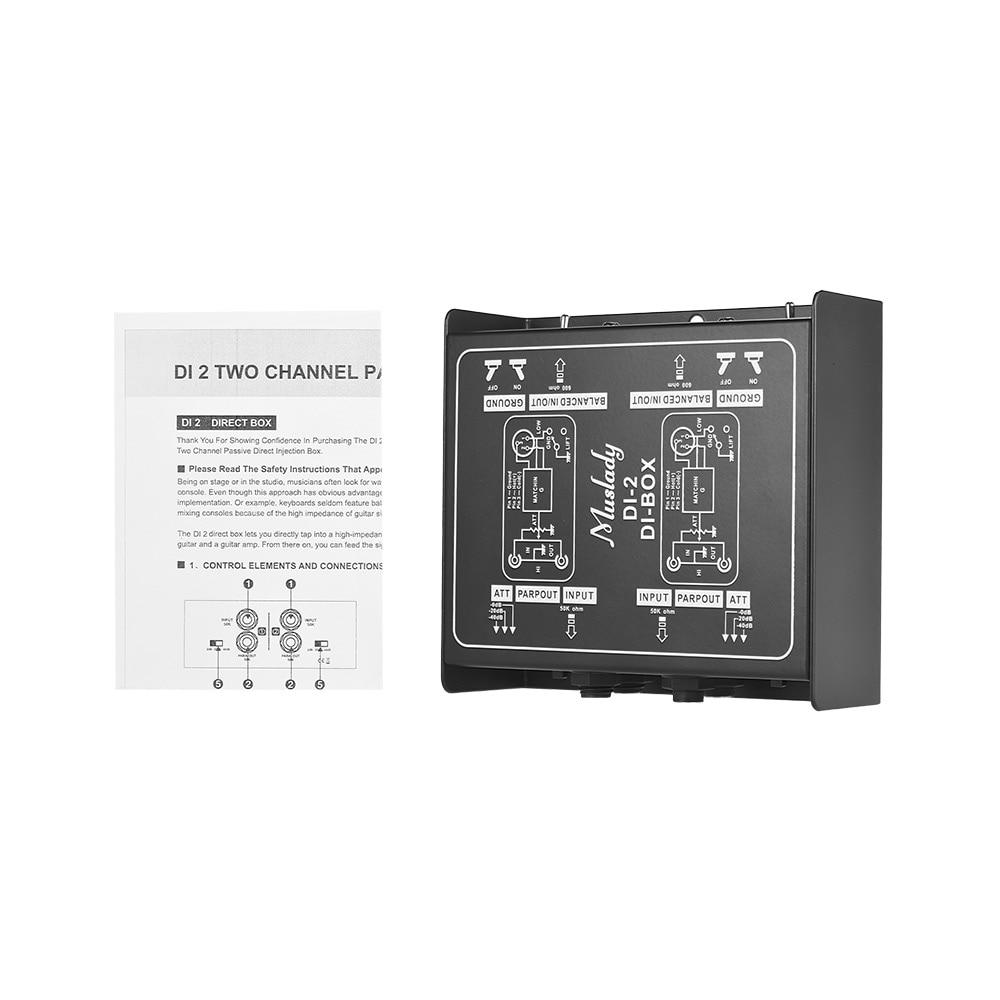 Caja de Audio de inyección directa de di-box pasivo de doble canal profesional Muslady DI-2 para guitarra eléctrica bajo rendimiento en vivo