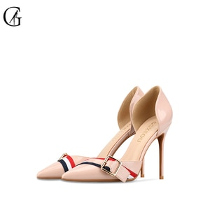 GOXEOU Women's Pumps D'Orsay Patent Lether Ribbon Pointed Toe High Heels England Style Party Fashion Office Ladies Shoes 32-46