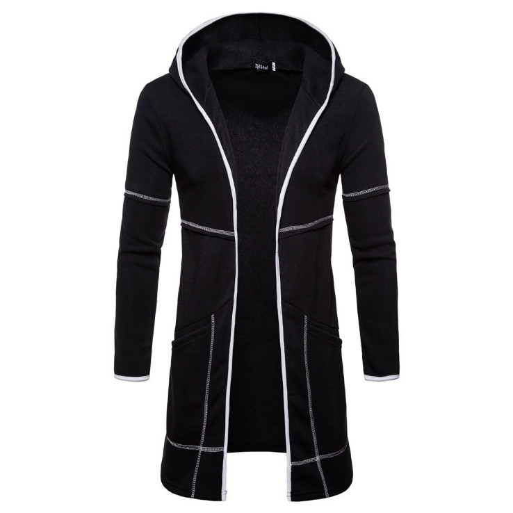Europa e américa cardigan hoodies homens nova moda preto com capuz camisolas outono design longo hoodies casaco europa/eua tamanho