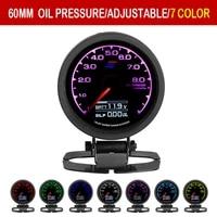 grd gauge greddi oil press gauge 7 light colors lcd display with voltage oil pressure 62mm 2 5 inch with sensor racing gauge