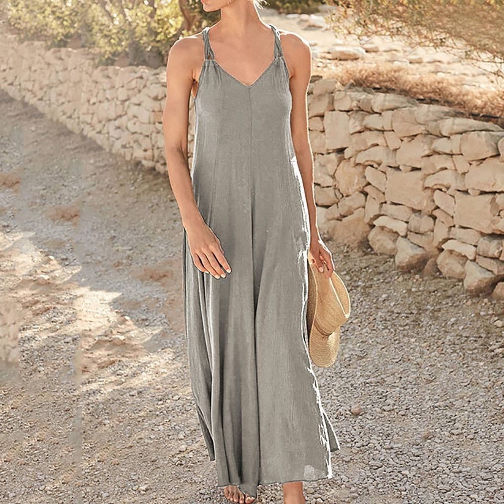 JAYCOSIN Womens Summer Beach Dress Sleeveless Women Sling leisure Swimmear Short Lady Beachwear Sundress Ankle-Length dresses