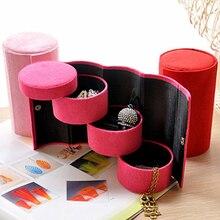 Portable 3 niveaux compartiment cylindre charpie enrouler des cadeaux pour le nouvel an boîtes à bijoux cercueils support organisateur étui livraison directe