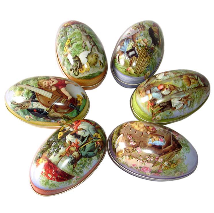 Venta al por mayor 100 unids/lote caja de hojalata de huevo de Pascua de tamaño grande patrón mixto caja de dulces de boda caja de almacenamiento SN389