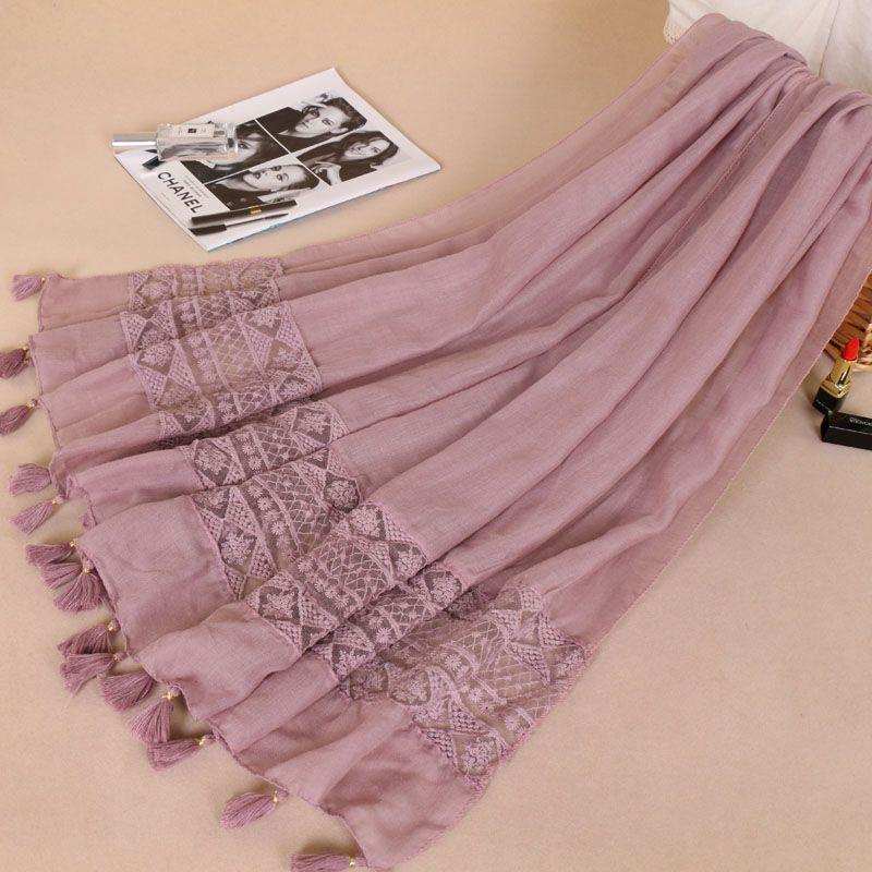 Женский модный простой кружевной шарф в стиле пэчворк, шаль из вискозы, роскошный брендовый шарф с лазерной отделкой, длинный размер, мусульманский хиджаб, снуд