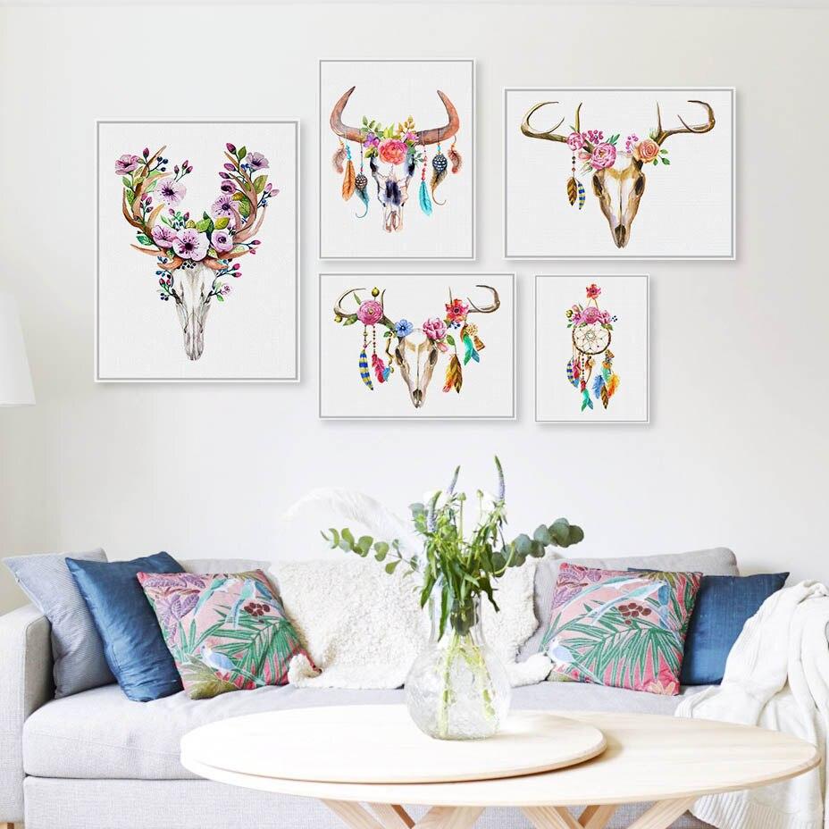 Aquarela moderna cabeça de veado crânio cartaz impressão a4 sonho apanhador pena parede arte imagem nórdico hippie casa deco lona pintura