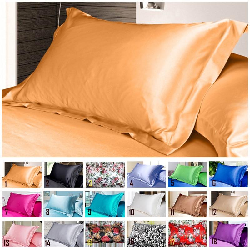 1 adet saf öykünme ipek saten yastık kılıfı tek yastık kapak renkli 48*74cm