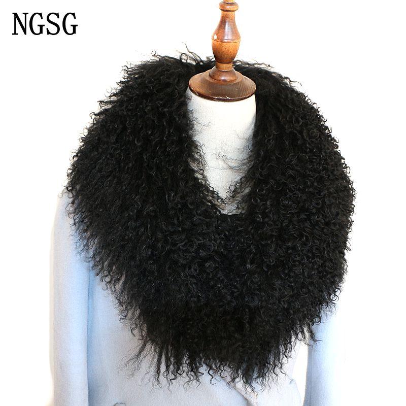 Женский Длинный шарф NGSG, зимний однотонный шарф из натуральной монгольской овчины, ML115