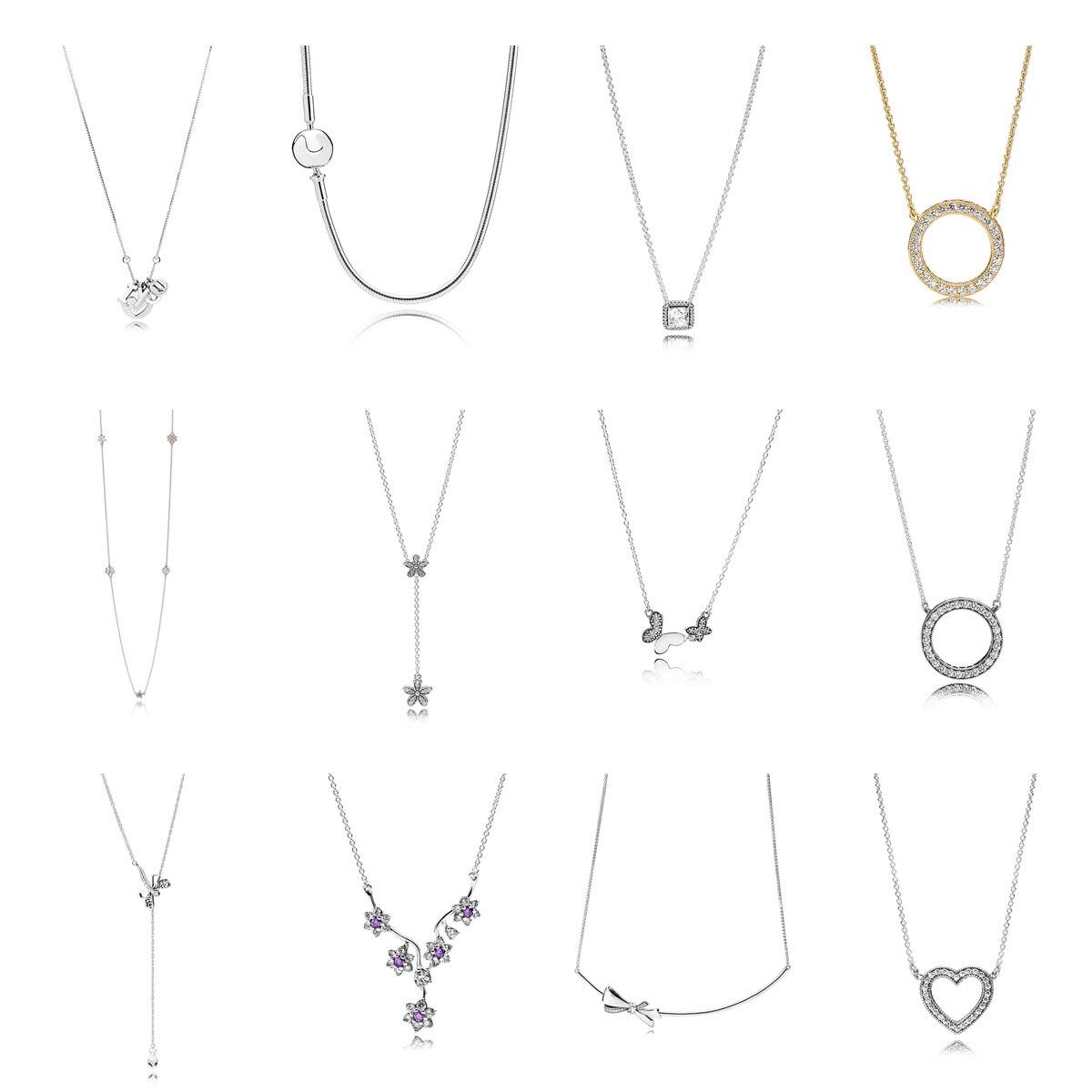 12 estilo 45 cm autêntico 925 prata esterlina colares flor coração pingente colar pulseiras para festa de casamento feminino jóias