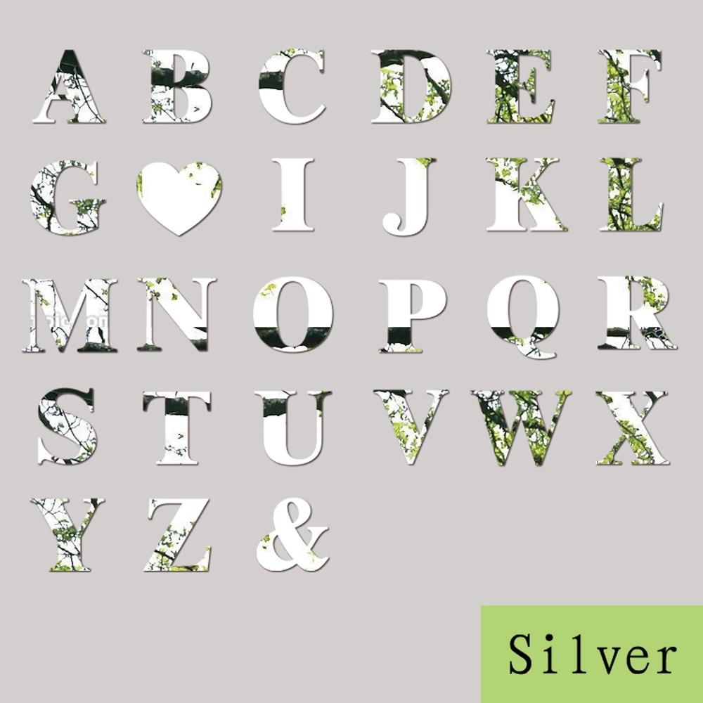1 Pcs 10cm 26 Letters Silver Mirror Wall Sticker Acrylic Mirrored Stickers Wall Decals DIY Mirror lettering Alphabet Decor