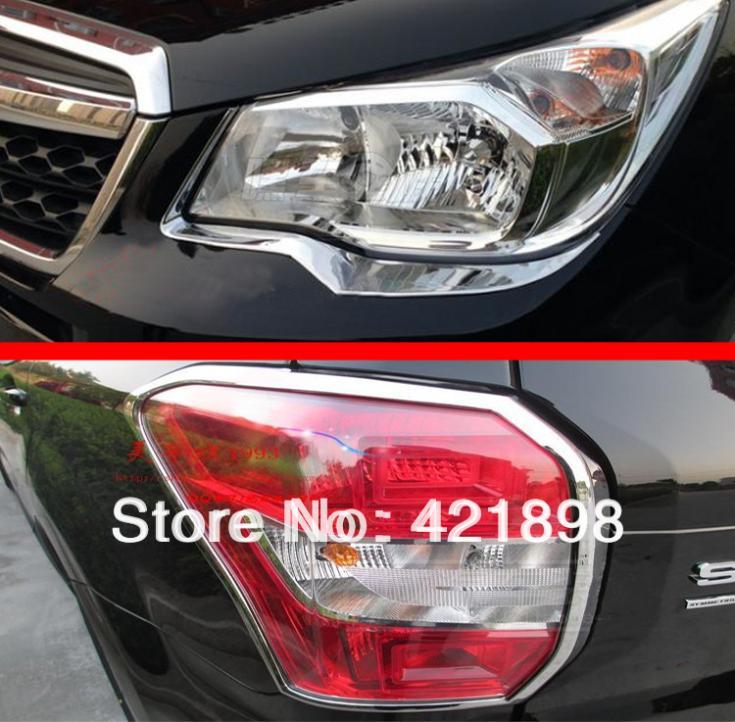 Para Subaru Forester 2013 2014 2015 2016 ABS Luz de cabeza cromada y para cubierta de luz trasera Trim