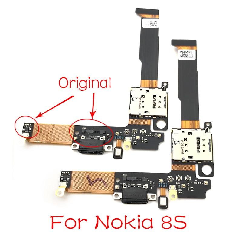 Nueva cinta de soporte de ranura para lector de tarjetas SIM para Nokia 8 Sirocco 8 S puerto de carga USB cargador de Puerto conector de clavija Cable flexible