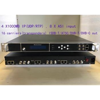 4x1000MB IP, 16 carriers of  DVB-T/C QAM digital modulator, giga IP to DVB-T/C modulator, QAM digital catv modulator,