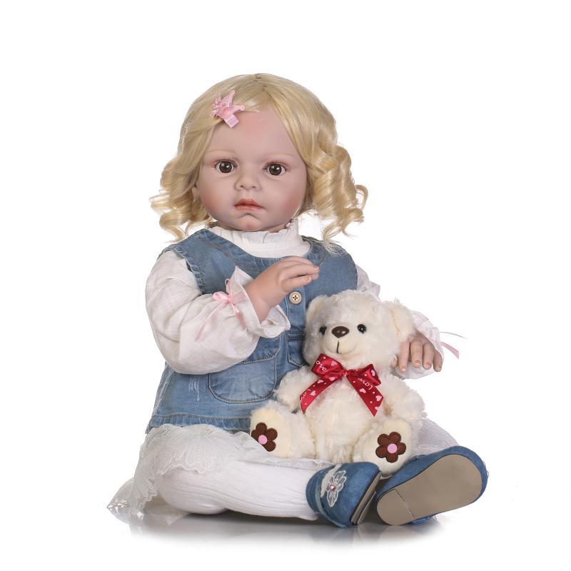 NPK 70cm grande hecho a mano silicona realista bebé recién nacido muñeca de moda Peluca de pelo rubio rizado bebé real reborn muñecas