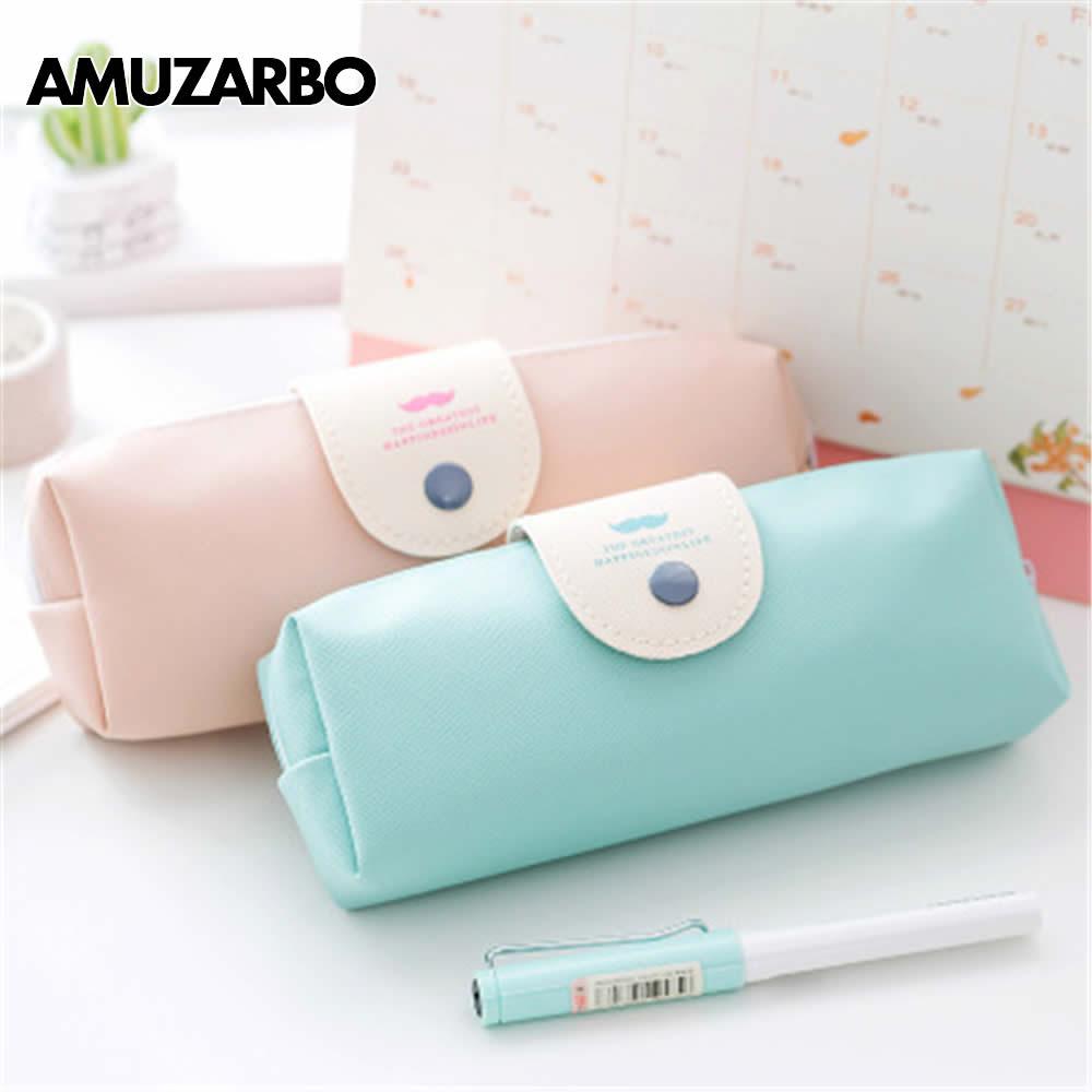 Moda saco Qiawayihuzipi couro lápis-caixa de presente material escolar bonito pure color pupi grande bolsa de maquiagem capacidade Coreano statione