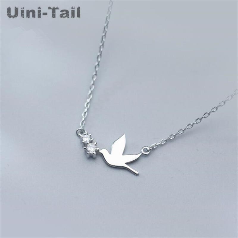 ¡Nuevo! Collar uini-tail de microincrustaciones de golondrina bonita de Plata de Ley 925, collar coreano de moda dulce dinámico GN874