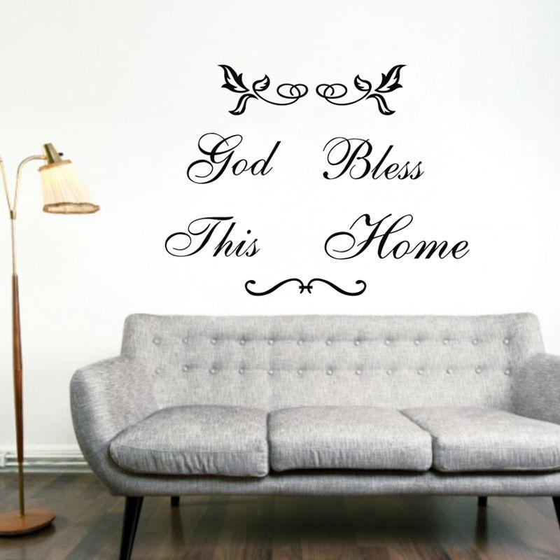 Dios bendiga esta casa etiqueta de la pared decoración de calcomanías de vinilo negro arte papel pintado